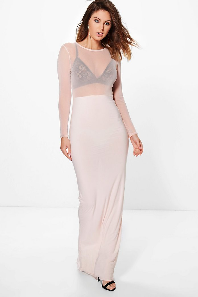Eve Sheer Mesh Detail Slinky Maxi Dress