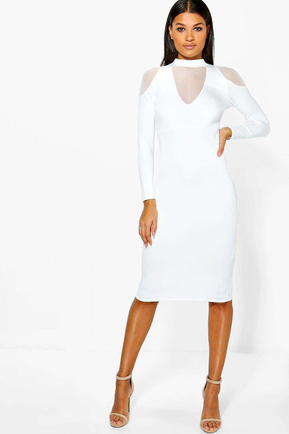Fi Mesh Cold Shoulder Detail Plunge Midi Dress