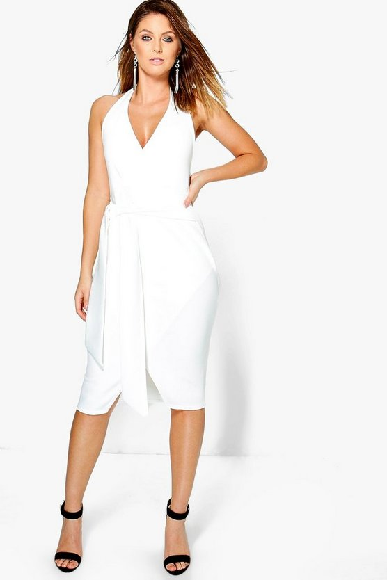Luna Wrap & Tie Detail Halter Midi Dress