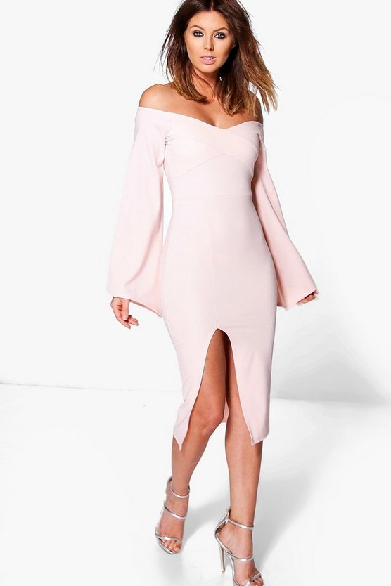 Cyra Off Shoulder Flute Sleeve Midi Dress