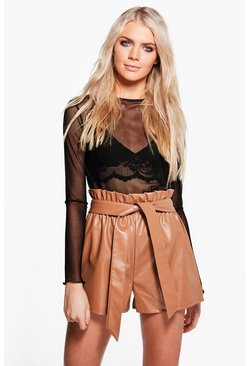 Zoe Paper Bag Waist Leather Look Shorts