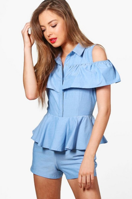 Jenny Cold Shoulder Ruffle Detail Playsuit