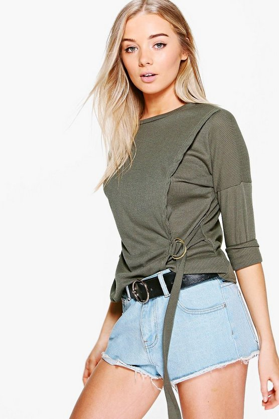 Kayleigh Rib D-Ring Long Sleeve Top