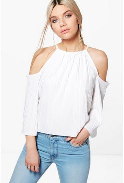 Callie Pleated Cold Shoulder Tie Top
