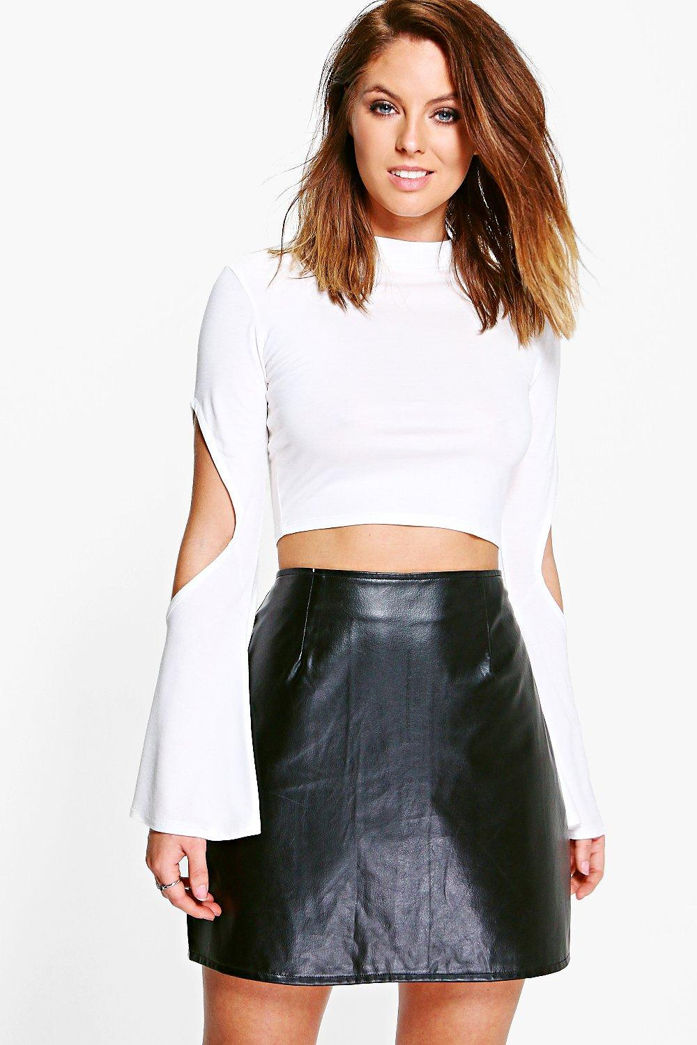 Victoria Cut Out Fluted Sleeve Crop