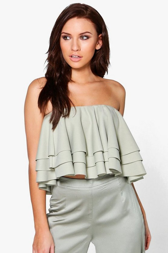 Nora Ruffle Tiered Crop Top