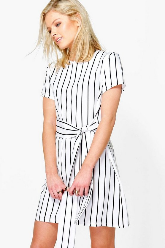 Jenna Stripe Tie Waist Shift Dress