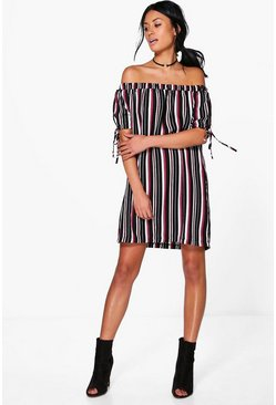 Kyla Tie Sleeve Off Shoulder Shift Dress