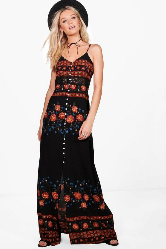 Sheera Floral Strappy Crochet Maxi Dress