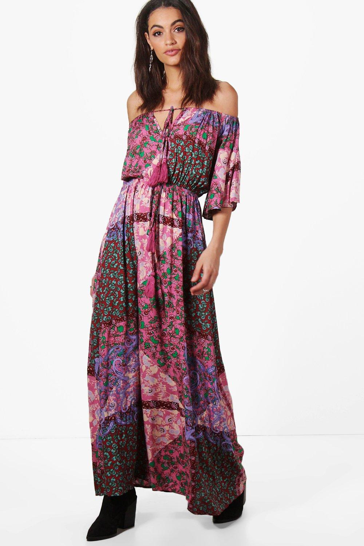 Evelyn Paisley Angel Sleeve Maxi Dress