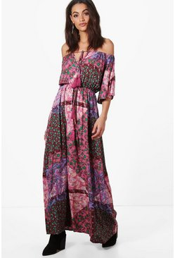 Evelyn Paisley Angel Sleeve Maxi Dress