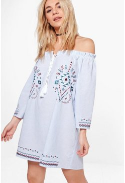 Nicky Embroidered Stripe A-Line Shift Dress