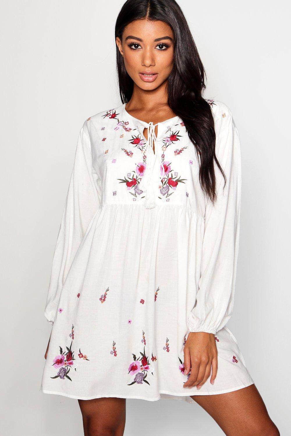 Lottie Embroidered Smock Dress