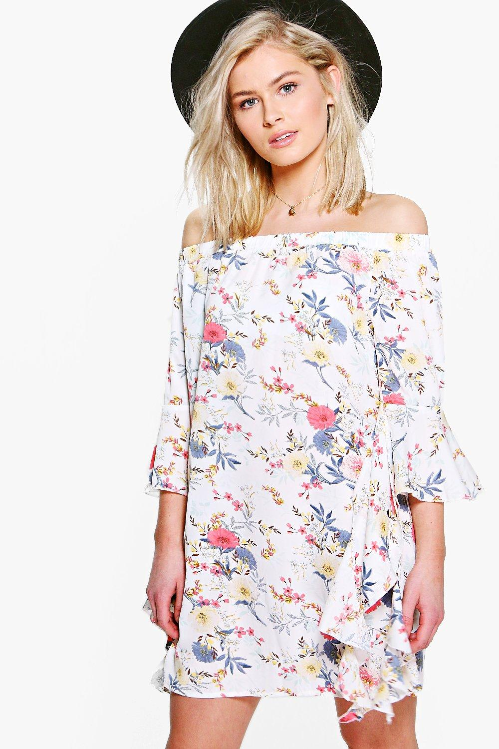Ria Floral Off Shoulder Waterfall Sleeve Shift Dress