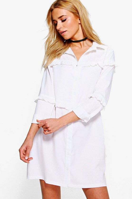 Meghan Micro Ruffle Shirt Dress