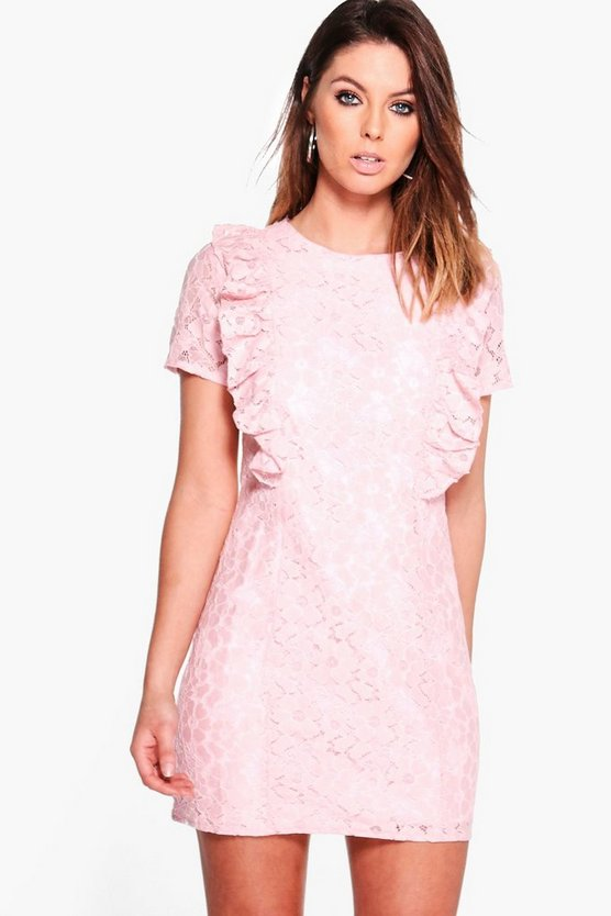 Lila Ruffle Lace Shift Dress