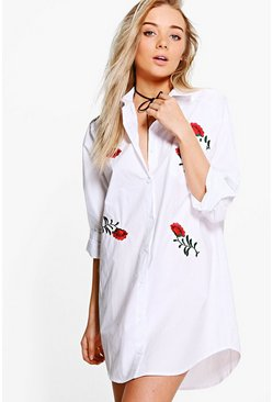 Lanie Embroidered Floral Cotton Shirt Dress