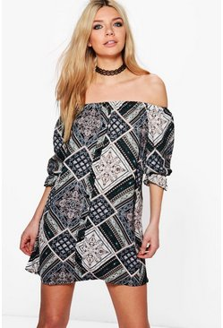 Kat Paisley Button Off Shoulder Shift Dress