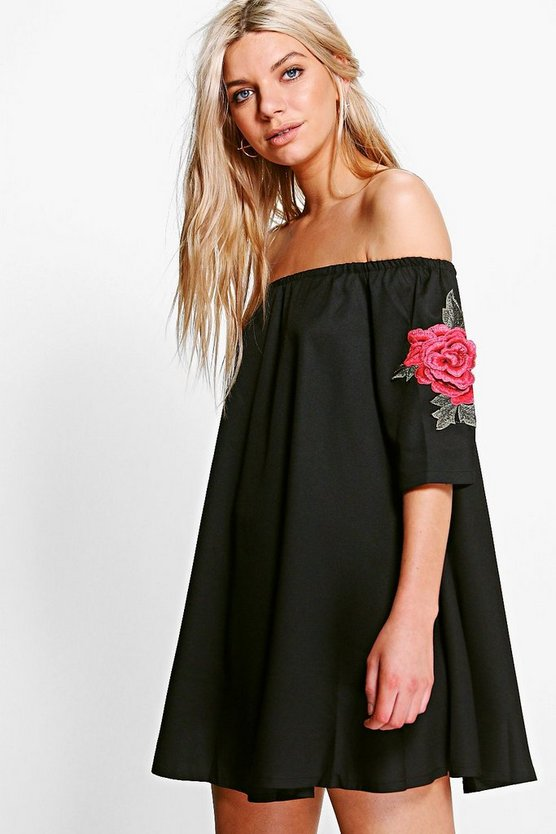 Cleo Embroidered Cold Shoulder Dress