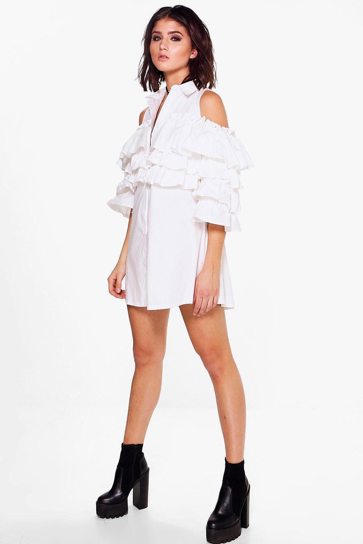 Tiered Ruffle Shirt Dress  white