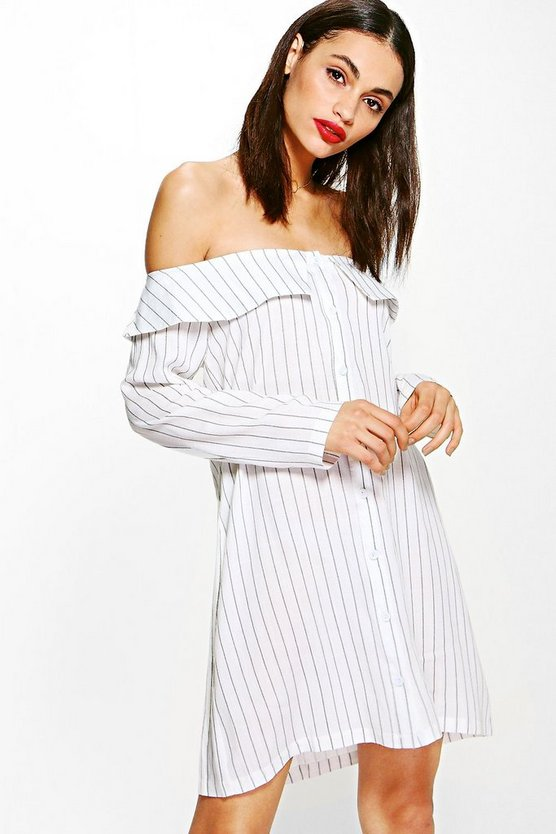 Cameron Stripe Off Shoulder Shirt Dress