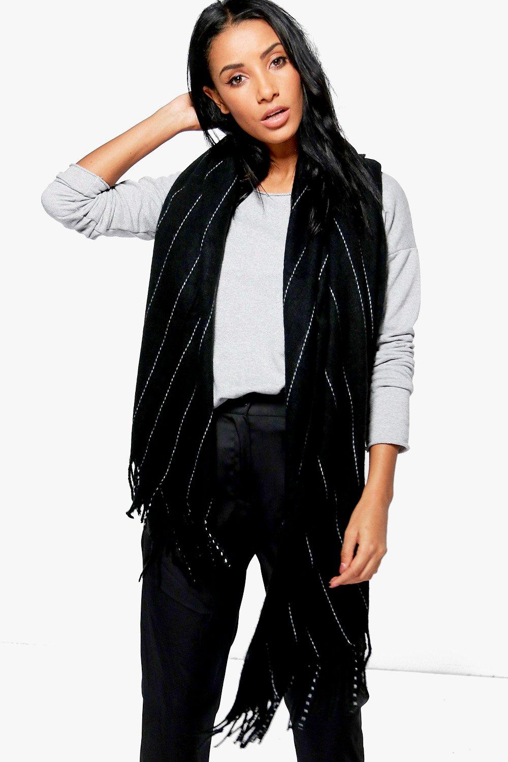 Pinstripe Supersoft Blanket Scarf - black - Diana