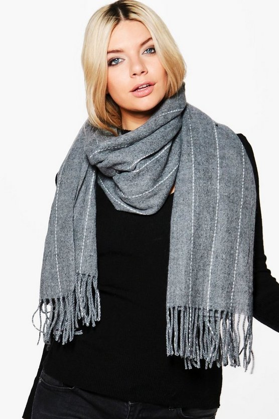 Lucia Pinstripe Oversized Blanket Scarf