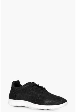 Freya Glitter Knit Lace Up Trainer