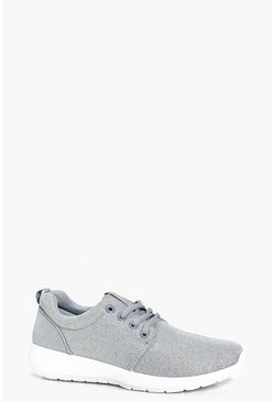 Daisy Shimmer Fabric Lace Up Trainer