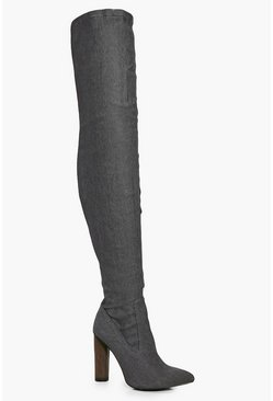 Louise Denim Over The Knee Boot
