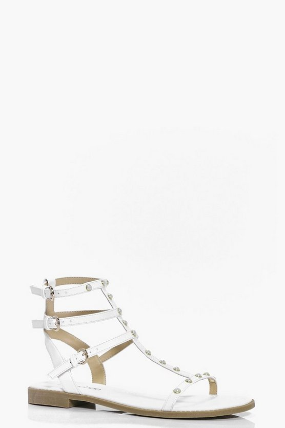 Pearl Trim Gladiator Flat Sandals