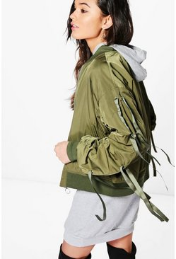 Jessica Lace Up Sleeve Sporty Bomber Jacket