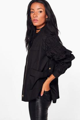 Erin Gathered Sleeve Popper Side Jacket