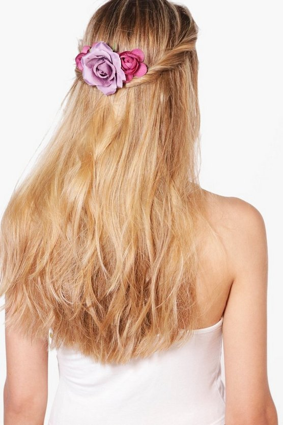 Lucie Bridal Purple Floral Hair Slide
