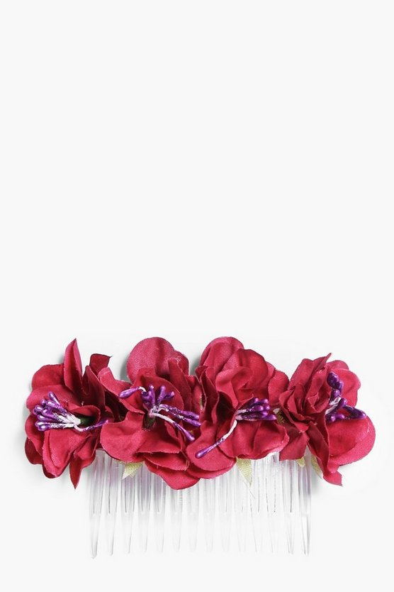 Macie Bridal Red Floral Hair Slide