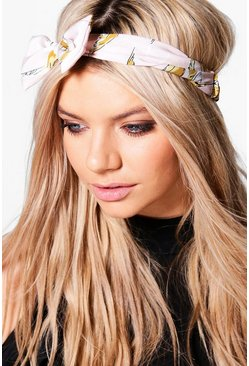 Georgina Pale Pink Print Bow Headband