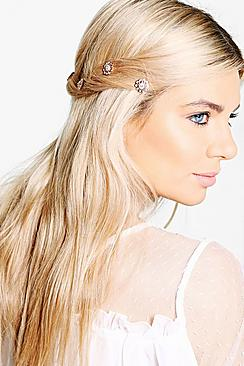 Macey Bridal Diamante Floral Spiral Hair Clips