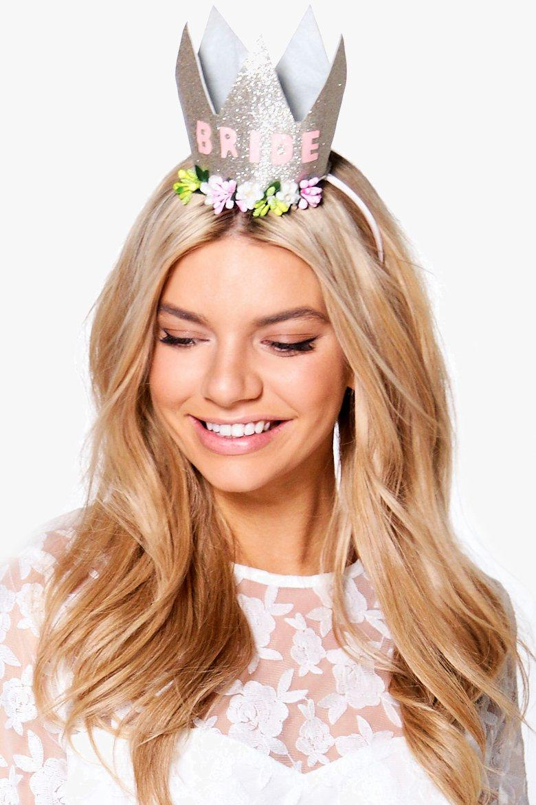 Hen Bride Slogan Crown Headband - gold - Connie He