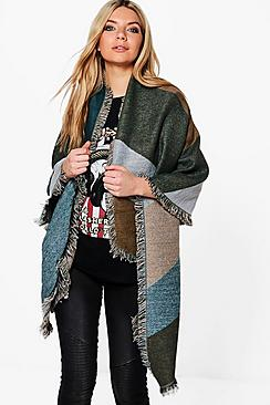 Lena Colour Block Oversized Blanket Scarf