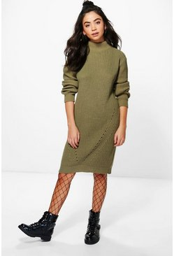 Scarlett Funnel Neck Chunky Knit Jumper Dress