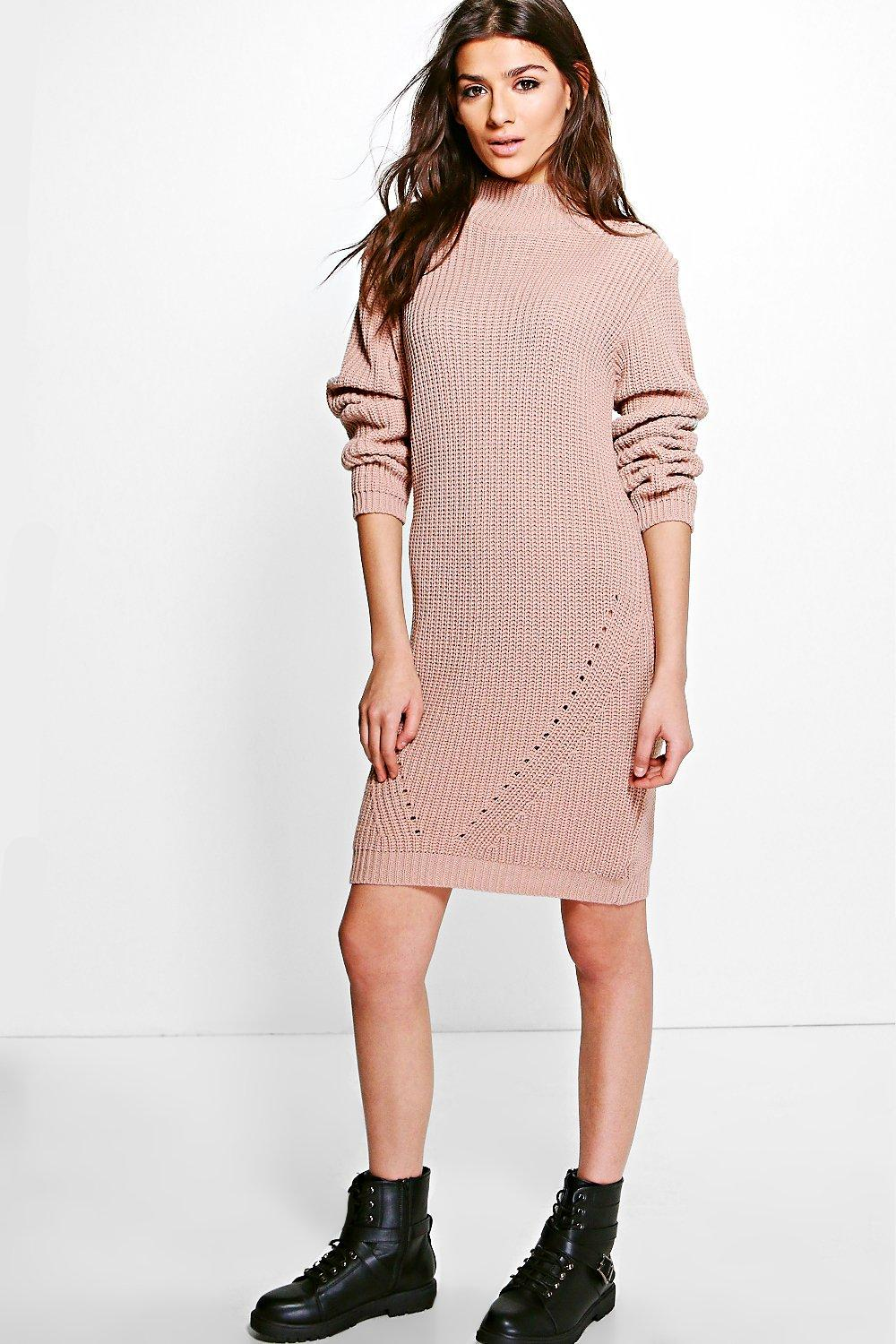 Funnel Neck Chunky Knit Jumper Dress  nude
