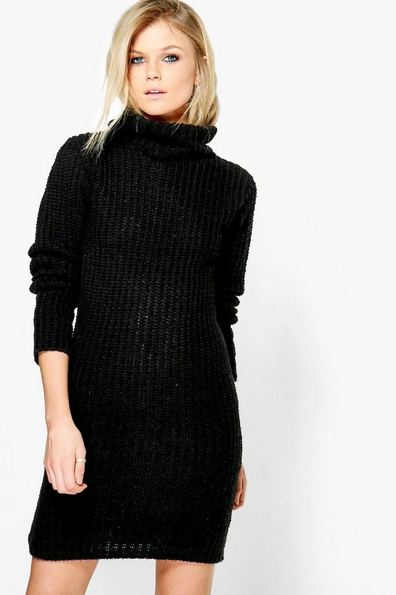 Darcy Funnel Neck Soft Knit Jumper Dress