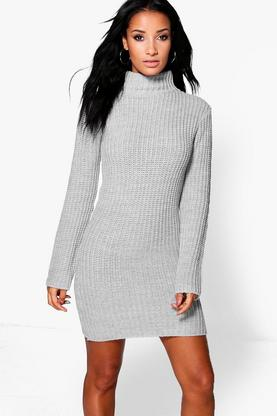 Holly Funnel Neck Chunky Jumper Dress
