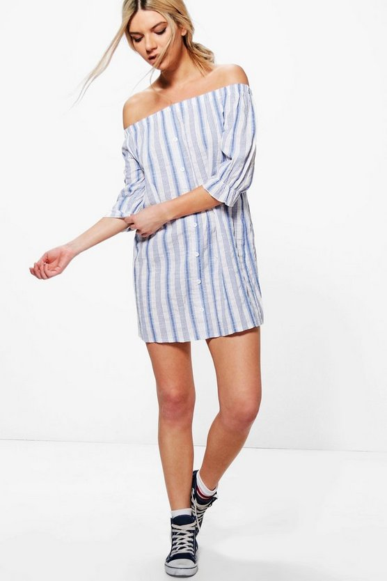 Barley Stripe Off Shoulder Shift Dress