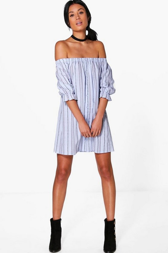 Cara Aztec Off Shoulder Button Shift Dress
