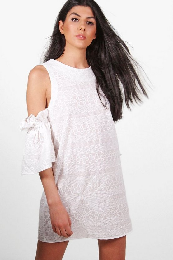 Poppy Lace Cold Shoulder Shift Dress
