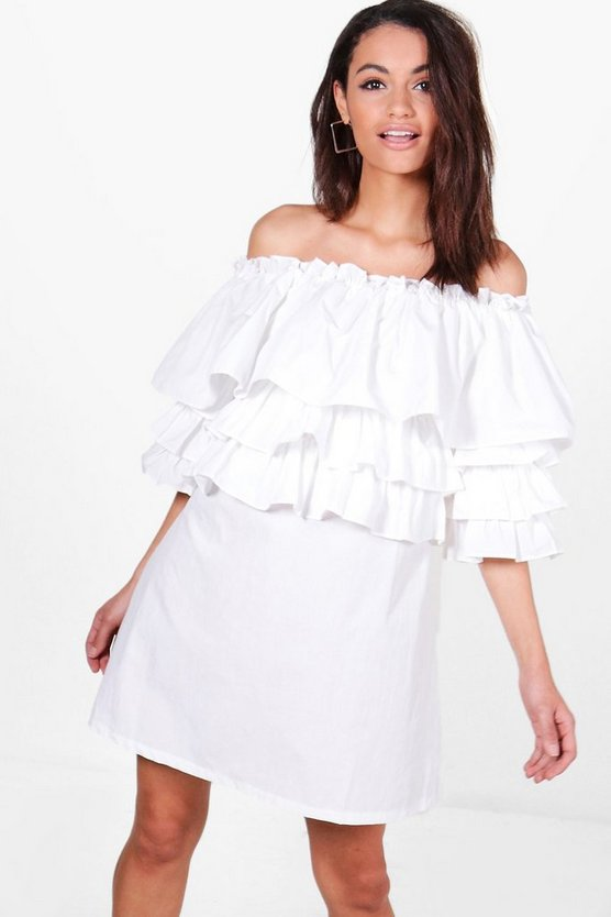 Nelly Off Shoulder Ruffle Shirt Dress