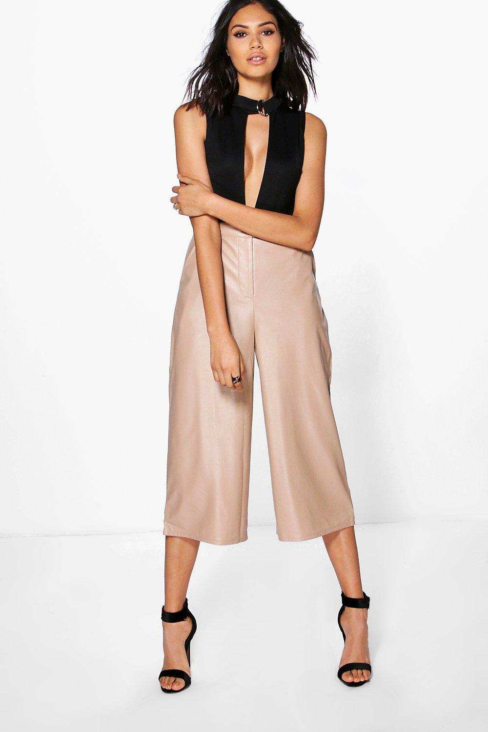 Aurelia Leather Look Wide Leg Culottes