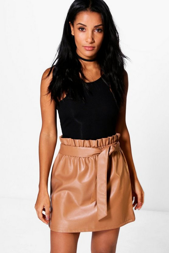 Tamison Paperbag Waist Leather Look Skirt