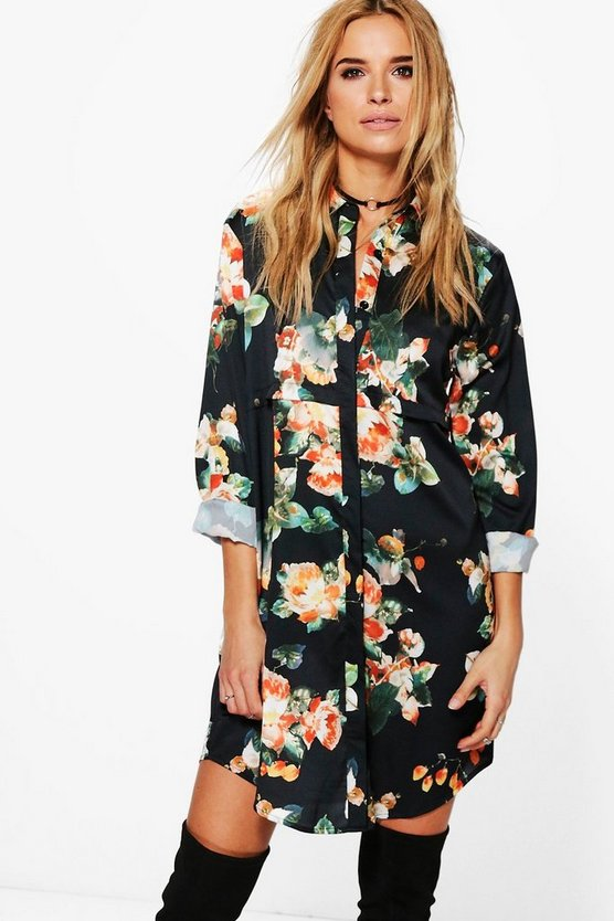 Floral Satin Shirt Dress